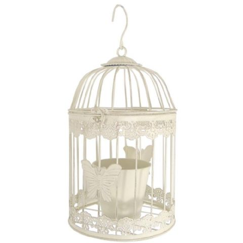 Cream Painted Metal Bird Cage Plant Holder
